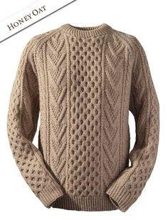 f9c27830ae1b6 Handknit New Wool Honeycomb Stitch Sweater - Moss Aran Knitting Patterns