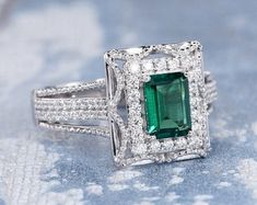 HANDMADE RINGS & BRIDAL SETS by MoissaniteRings on Etsy Emerald Ring White Gold, White Gold Rings, Bridal Ring Sets, Handmade Rings, Trending Outfits, Etsy Seller, Unique Jewelry, Engagement Rings, Gifts