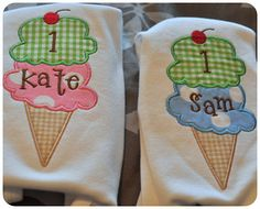 """Sam & Kate's birthday shirts (for their """"double scoop"""" party)"""