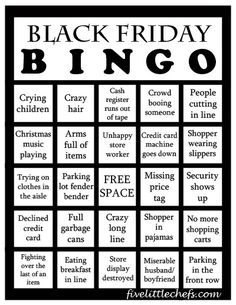 Black Friday Bingo from fivelittlechefs.com is a fun way to keep yourself busy while you are waiting in line on Black Friday. #blackfriday #bingo #printable