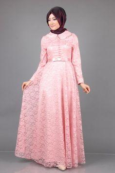 Birben Dantelli Abiye Elbise 7117 - www.modaselvim.com Batik Muslim, Kebaya Brokat, Model Kebaya, Hijab Style Dress, Africa Dress, Hijab Styles, Abaya Fashion, Party Gowns, Bride Dresses