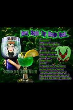 magic Spell (Apple vodka, sprite, green and yellow food coloring) Party Drinks, Cocktail Drinks, Fun Drinks, Yummy Drinks, Alcoholic Drinks, Liquor Drinks, Disney Themed Drinks, Disney Cocktails, Green Apple Vodka