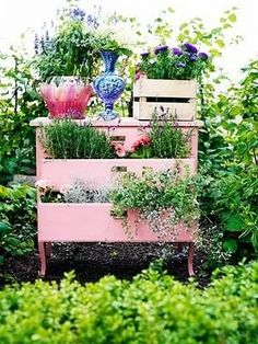 A Dresser in the garden!! The pink of the chest of drawers really sets off the greenery - Living Beautifully: Social Media