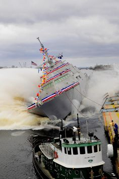 USS Fort Worth LCS-3 (littoral combat ship) launched into the Menominee River. 12/4/2010