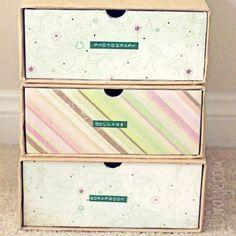 gaveteiro com caixas de sapato * drawer with shoe boxes