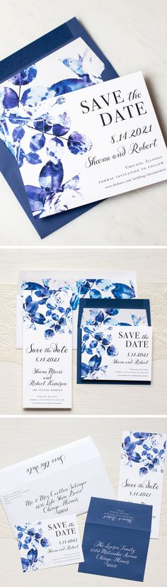 Modern luxury save the dates paired with rich blues and bright whites. The simple and elegant handwritten inspired fonts are simply stunning!