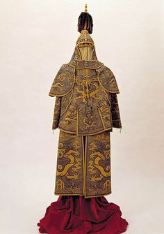 Imperial parade armor and helmet, Qianlong period, circa 1761 AD.  Steel with lining of silk and silk floss, glass beads, leather, gilt bronze,  pearls, marten fur, lacquer, coral, cotton, gold, wood, and jade.