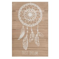 Just Dream - Tableau attrape-rêves en bois 23 x 34 cm