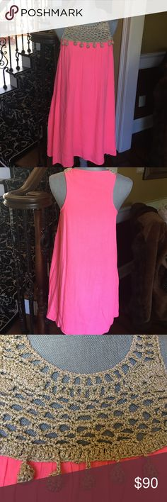 Lilly pulitzer dress Lilly Pulitzer easy to wear dress!  Dress it up or down.  Crotchet at top with khaki/gold thread and coral color gauzy body.  Worn only once! Lilly Pulitzer Dresses Midi