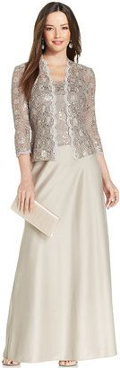 Alex Evenings Sequin-Lace Satin Gown and Jacket - $179.00