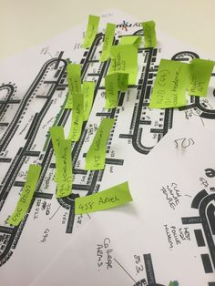 Early planning of the My Route Map. Each version of the map represents a different decade, with each post it note tab representing a business that we wanted to feature on the final interactive touchtable.