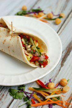 Veggie Wrap with Chickpea Spread & Cucumber Salsa Cucumber Salsa, Veggie Wraps, Free Food, Beans, Veggies, Vegetarian, Tasty, Lunch, Fresh