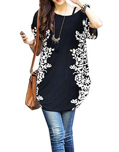 Relipop Women Summer Tunic Short Sleeve Casual Loose Blouse Top Xlarge Black -- Continue to the product at the image link.-It is an affiliate link to Amazon.
