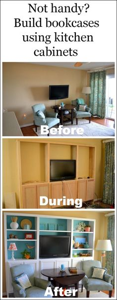 Wow! What a beautiful before and after! Great diy project for people who don't know a lot about carpentry.  Build bookcases using kitchen cabinets for the base. #diy #bookcases by regina