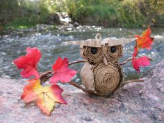 Cardboard Owl - Large Fall Foliage Ornament/Hanger