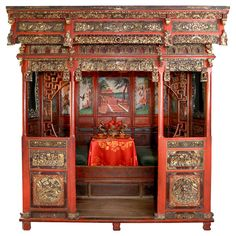 18th c. Exotic Chinese Dining Room/Bed Alcove | From a unique collection of antique and modern more asian art, objects and furniture at http://www.1stdibs.com/furniture/asian-art-furniture/more-asian-art-furniture/