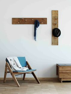 Cool idea.  This would be great for hubby's hats. We:do:wood coat hanger Scoreboard by Sebastian Jrgensen