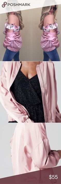 """NWT Pink Silky Bomber Jacket 🎉 30% OFF ANY BUNDLE Description• super well made """"silky"""" bomber jacket. New with tags. Two side pockets   Measurements• APPROX tag/hem 24"""" Bust(pit/pit) 18""""  Material•   Bundle and save!   Hashtags / tags• #bomberjacket #silky #jacket #pinkbomberjacket Jackets & Coats"""