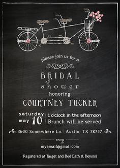 Tandem bicycle lime green polka dot wedding bridal shower invitation chalkboard tandem bicycle wedding shower by howdydooprints on etsy filmwisefo Choice Image