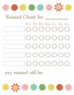 Reward chart nice & simple for those things you want to build a better habit