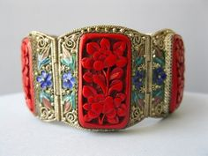 Chinese Silver Filigree Carved Cinnabar Enamel Bracelet