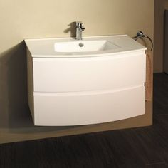 The Voss™ 810 wall mounted vanity drawer unit and basin. A beautifully crafted bow front vanity unit with matching inset basin. The 2 soft close drawers provide plenty of storage space and the stylish design makes this vanity unit the perfect choice. Al