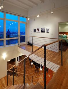 Looks like wood rils and thin posts???? Kress Penthouse - contemporary - staircase - raleigh - by Ellen Cassilly Architect