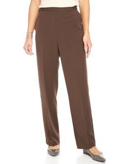 Alfred Dunner Chocolate Santa Fe Short Check Pants