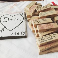 5 year anniversary! Traditional gift is wood so we celebrated with a handmade wooden sign and a game of Jenga with a memory written in each piece.