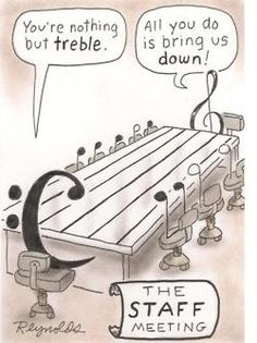 """Staff Meeting with the treble and the bass cleff:  """"You're nothing but treble."""" and """"All you do is bring us down!"""""""