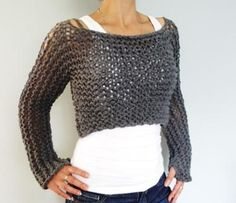 Sweater Knitting PATTERN - Andra Cropped Thumb Hole Sweater/ SuperChunky Knit Soho Cropped Top/Shoulder Lace Short Sweater This chunky knit cropped sweater is a quick and easy project, suitable for a beginner. The simple pattern enhanced with . Poncho Au Crochet, Knit Shrug, Knit Crochet, Capelet, Free Crochet, Sweater Knitting Patterns, Knitting Stitches, Hand Knitting, Beginner Knitting