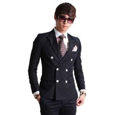 Men's Fashion Double-Breasted Casual Slim Fit Suit