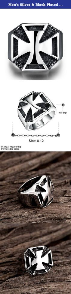 Men's Silver & Black Plated Two-tones Biker Cool Ring Cross Rings & Religious Wedding Bands Size US 11. It's a perfect gifts idea for your friends,husband as birthday,children's day, father's day gifts. Gift box is free provided. It's super suitable accessory for party,fashion show or other activities. Our name is Focus Jewel,choosing us is choosing high quality in best price. High Quality in 316L Stainless Steel,Shiny looking in Great Touching Feeling; Comfort Fit and Good Price; Well...