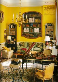 Parisian Panache. Eighteenth-century yellow silk-swathed walls create a sunny reading spot in the library of a Left Bank home by Henri Samuel.