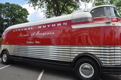 'The GM Futurliners were a group of stylized buses designed in the 1940s by Harley Earl for General Motors. They were used in GM's Parade of Progress, which traveled the United States exhibiting new cars and technology.'    - Wikipedia