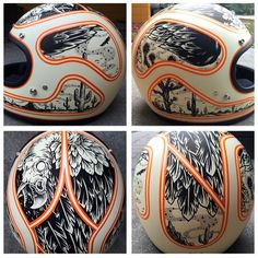 This dome piece from is lookin' so good! Motorcycle Helmet Design, Cafe Racer Helmet, Motorcycle Art, Women Motorcycle, Custom Helmets, Custom Bobber, Arte Sharpie, Helmet Head, Vintage Helmet