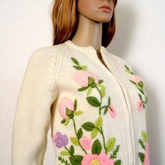 dca2c4392 RESERVED For Terry 1950s 1960s Cardigan   50s 60s Sweater   Floral  Embroidered ROSES on Creamy White   SM