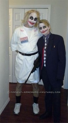 My husband and I as Jokers from the Dark Knight. He as the nurse and me as the traditonal Joker. Easy DIY costume requires lab coat, suit, blond wig, toy gun and make up - print out a Vote for Harvey Dent badge on your. Homemade Couples Costumes, Easy Diy Costumes, Homemade Halloween Costumes, Funny Costumes, Cool Costumes, Costume Ideas, Joker Halloween Costume, Couple Halloween, Halloween Party
