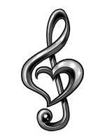 treble clef heart she will have to wait till she moves out of my house, I know she would love this.