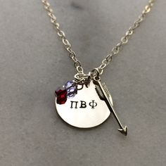 Pi Beta Phi Sorority Charm Necklace - Pi Phi.  Sterling Silver.  Hand Stamped. by SocietySilver on Etsy https://www.etsy.com/listing/191093795/pi-beta-phi-sorority-charm-necklace-pi
