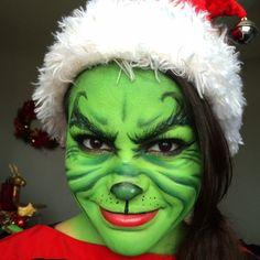 Grinch Halloween Makeup Look Masken schminken Christmas Makeup Look, Holiday Makeup, Halloween Makeup Looks, Grinch Halloween, Le Grinch, Halloween 2015, Halloween Ideas, Halloween Face, Deer Makeup