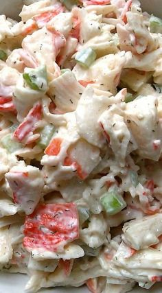 Healthy Meals Quick and Easy Seafood Salad _ that's always a hit! Use crab, shrimp or lobster to make it your own! - Quick and easy seafood salad that's always a hit! Use crab, shrimp or lobster to make it your own. Sea Food Salad Recipes, Fish Recipes, Healthy Recipes, Crab Salad Recipe Healthy, Healthy Meals, Fake Crab Salad Recipe, Golden Corral Crab Salad Recipe, Healthy Food, Summer Salads