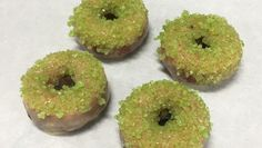 Mini Giant Peach Cake Doughnuts with Magic Green Crystals by Doughnut Plant NYC.