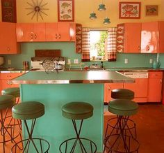 back to the future pool house - built in rockin' 1955 - 16 photos Rejuvenation Astron Tri light fixture in Neptune Blue at home in a retro kitchen.Rejuvenation Astron Tri light fixture in Neptune Blue at home in a retro kitchen. Kitchen Retro, Vintage Kitchen, Retro Vintage, Vintage Modern, Retro Kitchens, Coral Kitchen, Retro Appliances, Vintage Homes, Modern Kitchens