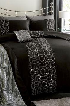 Buy Black Sequin Geo Bed Set from the Next UK online shop