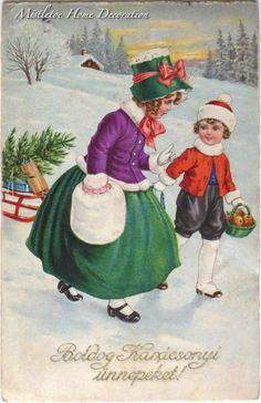 Mistletoe Home Decoration: Vintage Hungarian Christmas cards - winter scene, children Christmas And New Year, Christmas Crafts, Christmas Decorations, Christmas Ideas, Victorian Christmas, Vintage Christmas, Winter Scenes, Mistletoe, Vintage Postcards