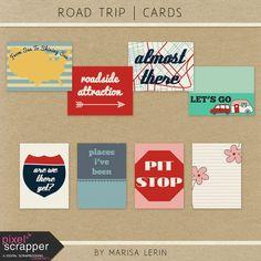 Road Trip Journal Cards Kit | digital scrapbook | travel, road trip, journal cards, pocket cards, printable
