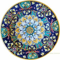 Blue Pottery, Ceramic Pottery, Pottery Painting, Ceramic Painting, Ceramic Plates, Decorative Plates, Handmade Paint, Italian Pottery, Turkish Art