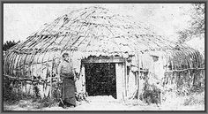 """Kaw Bark Lodge - ca. 1880 The Kansa/Kaw Tribe, are also known as """"the wind people"""" The tribe originally lived along the lower Kansas River in villages consisting of conical-shaped lodges. The Kaw Tribe, formerly known as the Kansa (or Konza) at one time stretched over 20 million acres across northern Kansas into Nebraska and Missouri. In 1825, a treaty was signed by the Kanza Tribe in which the Tribe """"agreed"""" to sell a large portion of its land base and relocated to a reservation near…"""