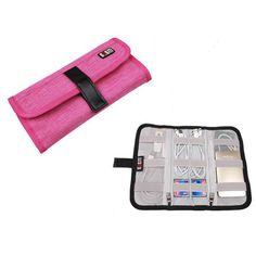 BUBM multifunction roll bag data wire reciving bag earphone bag tour portable M Rose red #Affiliate